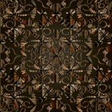 Dark brown abstract 3d floral vector seamless pattern. Ornamental patterned geometric background. Decorative dotted ornament with geometry shapes, dots flowers Vector Illustration
