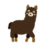 A dark brown alpaca cartoon character. Royalty Free Stock Photos