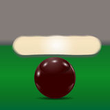 Dark brown ball on a billiard table. The cue ball in front of broken pyramid. illustration. Dark brown ball on a billiard table. The cue ball in front of broken vector illustration