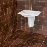 Dark brown bathroom tiles Stock Photography
