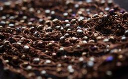 Dark brown beads necklace Stock Photos