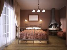 A dark brown bedroom in rustic style with a fireplace with a wrought-iron bed. A dark maroon bedroom in rustic style with a fireplace with a wrought-iron bed. 3D royalty free illustration