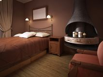 A dark brown bedroom in rustic style with a fireplace with a wrought-iron bed vector illustration