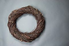 Dark Brown Bird Nest Fantasy Background Photo Prop Isolated on g. Ray royalty free stock image