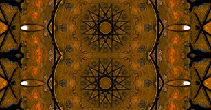 Dark brown and black star-shaped mandala royalty free stock photo