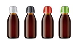 Blank bottles mockups for syrup or other pharmaceutical liquids. Stock Photography