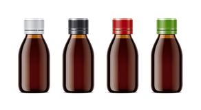 Blank bottles mockups for syrup or other pharmaceutical liquids. Royalty Free Stock Photo