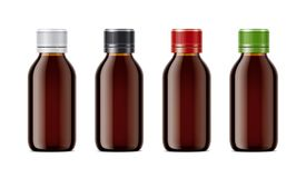 Blank bottles mockups for syrup or other pharmaceutical liquids. Stock Image