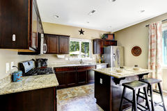 Dark brown cabinets with granite tops. Kitchen room interior. Dark brown cabinets with granite tops. Kitchen island with stools Stock Image