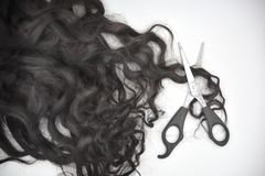 Dark brown curly hair with scissors on the white background royalty free stock photography