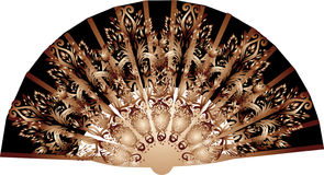 Dark brown decorated fan on white Stock Photos