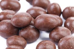 Dark brown dragee in chocolate covered Stock Image