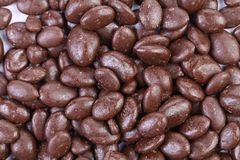 Dark brown dragee, in chocolate covered. Royalty Free Stock Image