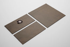 Dark brown envelopes Stock Photos