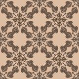 Dark brown floral seamless pattern on beige background Stock Image