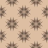 Dark brown floral seamless pattern on beige background. Dark brown floral ornament on beige background. Seamless pattern for textile and wallpapers Royalty Free Stock Photo