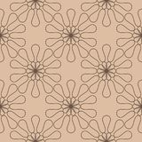 Dark brown floral seamless pattern on beige background. Dark brown floral ornament on beige background. Seamless pattern for textile and wallpapers Stock Images