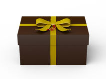 Dark brown gift box with yellow ribbon bow Stock Photo