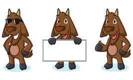 Dark Brown Goat Mascot pose Stock Photography