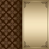 Dark brown and gold vintage card - vector Stock Photo