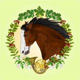 Dark brown horse hunting theme vector Stock Photo