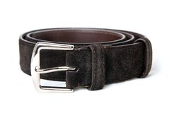 Dark brown leather belt isolated on white Stock Photography
