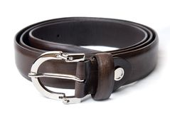Dark brown leather belt isolated on white Royalty Free Stock Photo