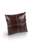 Dark brown leather cushion Royalty Free Stock Photography
