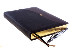 Dark brown leather diary with nacre pen Royalty Free Stock Photography