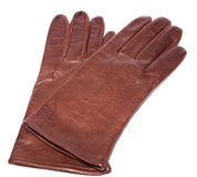 Dark brown leather gloves Royalty Free Stock Image