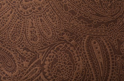 Dark brown leather texture print as background.  Royalty Free Stock Photos
