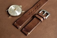 Free Dark Brown Leather Watch Strap With Stainless Buckle On Leather Background, Craft And Handmade Watch Bracelet Royalty Free Stock Photos - 155705728