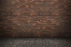 Dark brown modern brick wall with asphalt floor for pattern Royalty Free Stock Photos