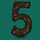Dark Brown Number Five with Golden Floral Decor Stock Image