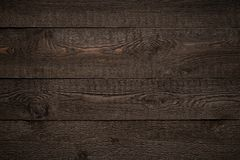 Dark brown old wood striped texture or background