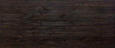 Dark brown painted wooden desk background table wide banner design header. Dark brown painted wooden desk background tabletop wide horizontal photo banner for stock photos
