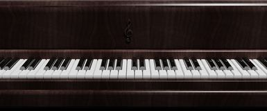 Dark brown piano keys front view Stock Images