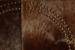Dark brown real leather patchwork Stock Photography