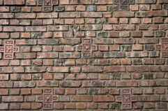 Dark Brown Red Brick Wall Stock Photography