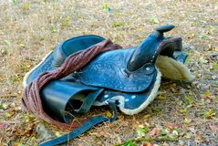 A dark brown saddle Royalty Free Stock Photo