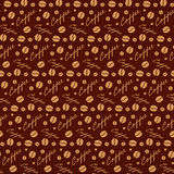 Dark brown seamless pattern with coffee beans Royalty Free Stock Photography
