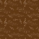 Dark brown seamless pattern with music notes - vector background Royalty Free Stock Image