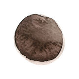 Dark brown, sepia, chocolate round watercolor stain isolated on white background Royalty Free Stock Photography