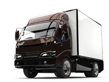 Dark brown small box truck - closeup shot. Isolated on white background Royalty Free Stock Photography
