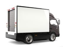 Dark brown small box truck - rear view. Isolated on white background Royalty Free Stock Image