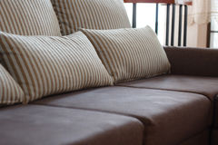 Dark brown sofa Stock Image