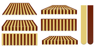 Dark brown and soft brown awnings. Set isolated on white royalty free illustration