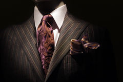 Dark brown striped jacket, purple tie and handkerc. Close-up of a dark brown striped jacket with white shirt, purple patterned tie and handkerchief stock photography