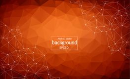 Abstract Polygonal Space Background with Connecting Dots and Lines. Low Poly Vector Illustration. Dark Brown vector texture with disks, lines. Modern abstract royalty free illustration