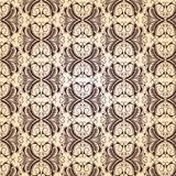 Dark brown vintage pattern on a beige background. Curves lines (seamless texture Royalty Free Illustration